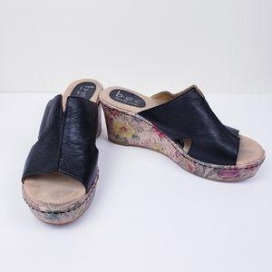 B.O.C Black Leather Floral Wedge Sandals 8